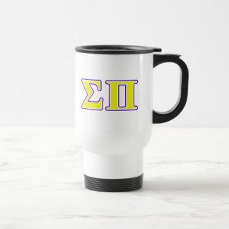 Sigma letras amarillas y púrpuras del pi taza de viaje