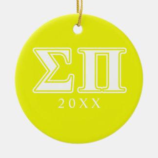 Sigma letras blancas y amarillas del pi adorno navideño redondo de cerámica