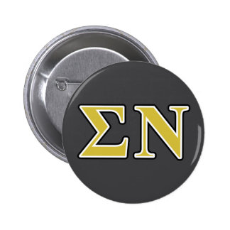 Sigma Nu Black and Gold Letters 2 Inch Round Button