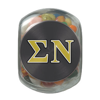 Sigma Nu Black and Gold Letters Glass Candy Jars
