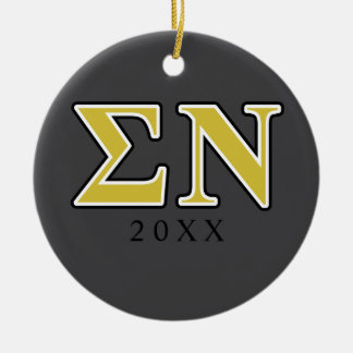 Sigma Nu Black and Gold Letters Christmas Ornament