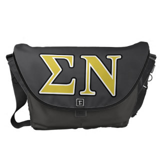 Sigma Nu Black and Gold Letters Courier Bags