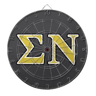 Sigma Nu Black and Gold Letters Dartboard