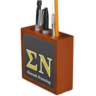 Sigma Nu Black and Gold Letters Desk Organizers