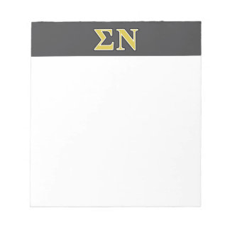 Sigma Nu Black and Gold Letters Memo Note Pad