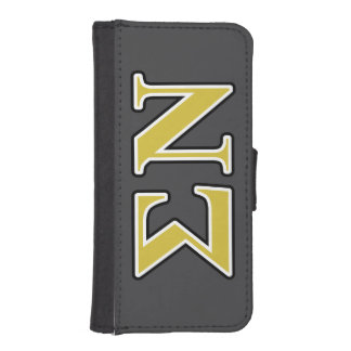Sigma Nu Black and Gold Letters Phone Wallet Cases