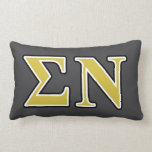 Sigma Nu Black and Gold Letters Pillow