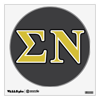 Sigma Nu Black and Gold Letters Room Sticker
