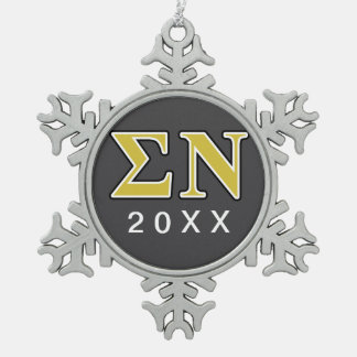 Sigma Nu Black and Gold Letters Snowflake Pewter Christmas Ornament
