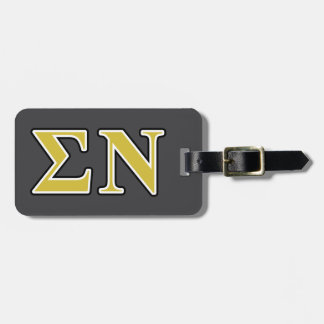 Sigma Nu Black and Gold Letters Tags For Luggage