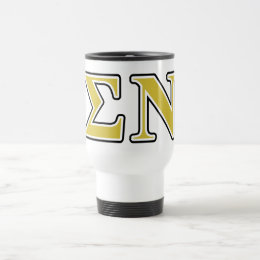 Sigma Nu Black and Gold Letters Travel Mug