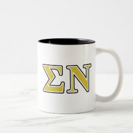 Sigma Nu Black and Gold Letters Two-Tone Coffee Mug