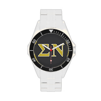 Sigma Nu Black and Gold Letters Watches