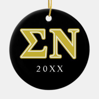 Sigma Nu Gold Letters Double-Sided Ceramic Round Christmas Ornament