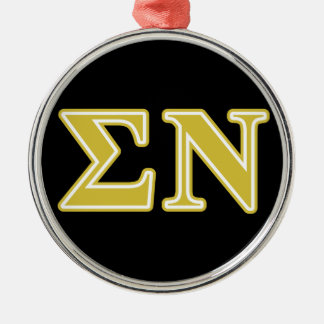 Sigma Nu Gold Letters Metal Ornament