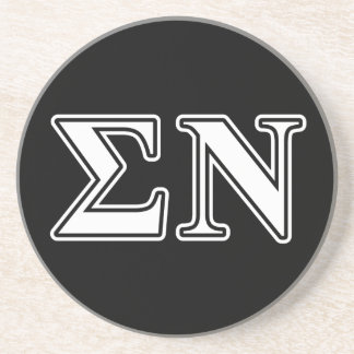 Sigma Nu White and Black Letters Drink Coaster