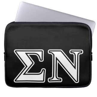 Sigma Nu White and Black Letters Laptop Sleeve