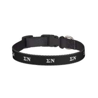 Sigma Nu White and Black Letters Pet Collar
