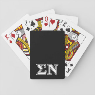 Sigma Nu White and Black Letters Playing Cards