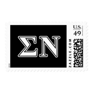 Sigma Nu White and Black Letters Postage