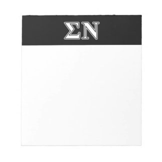 Sigma Nu White and Black Letters Scratch Pad