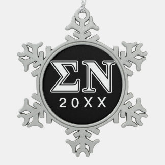Sigma Nu White and Black Letters Snowflake Pewter Christmas Ornament