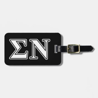 Sigma Nu White and Black Letters Tags For Bags