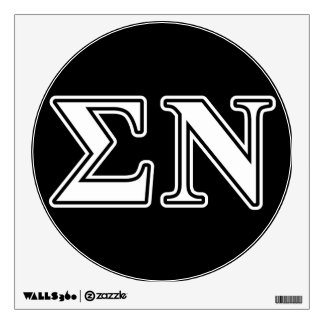 Sigma Nu White and Black Letters Wall Graphic