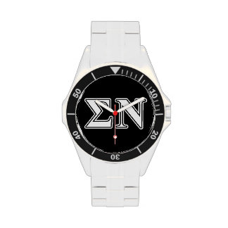 Sigma Nu White and Black Letters Wrist Watches
