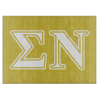 Sigma Nu White and Gold Letters Cutting Board