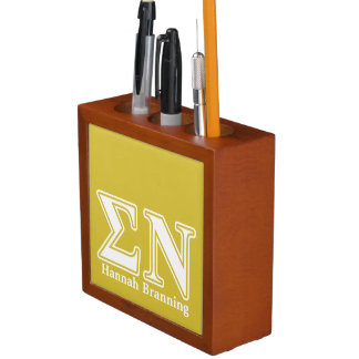 Sigma Nu White and Gold Letters Desk Organizers