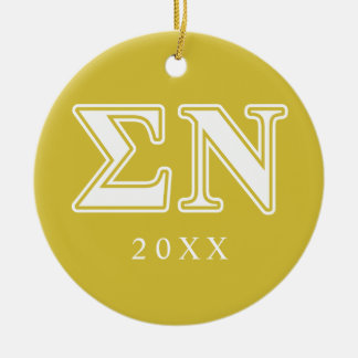 Sigma Nu White and Gold Letters Double-Sided Ceramic Round Christmas Ornament