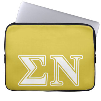 Sigma Nu White and Gold Letters Laptop Computer Sleeve