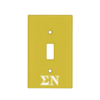 Sigma Nu White and Gold Letters Light Switch Cover