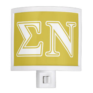 Sigma Nu White and Gold Letters Nite Light