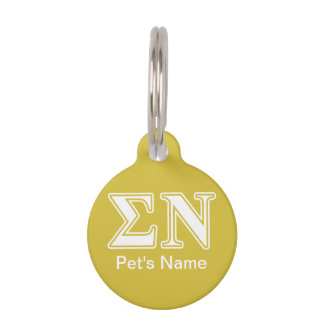 Sigma Nu White and Gold Letters Pet Name Tags