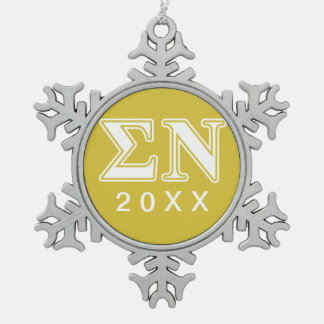 Sigma Nu White and Gold Letters Snowflake Pewter Christmas Ornament