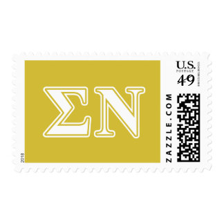 Sigma Nu White and Gold Letters Stamps