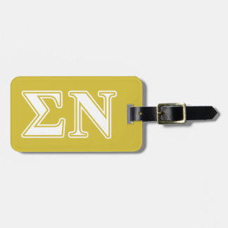 Sigma Nu White and Gold Letters Travel Bag Tags