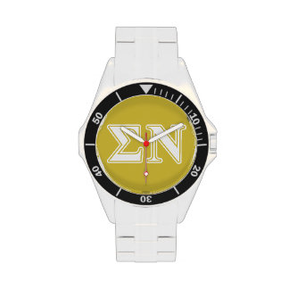 Sigma Nu White and Gold Letters Wristwatch