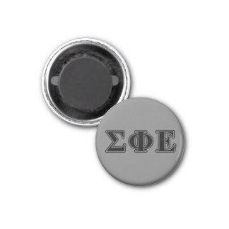 Sigma Phi Epsilon Black Letters 1 Inch Round Magnet