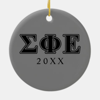 sigma phi epsilon black letters ceramic ornament