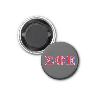 Sigma Phi Epsilon Purple and Red Letters 1 Inch Round Magnet