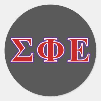 Sigma Phi Epsilon Purple and Red Letters Classic Round Sticker