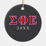 Sigma Phi Epsilon Purple and Red Letters Double-Sided Ceramic Round Christmas Ornament