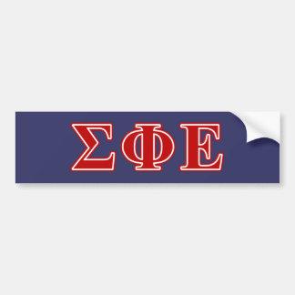 Sigma Phi Epsilon Red Letters Car Bumper Sticker