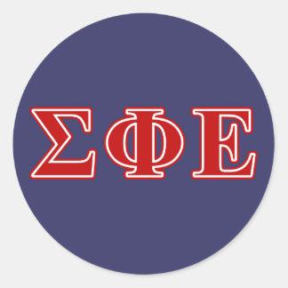 sigma phi epsilon red letters classic round sticker