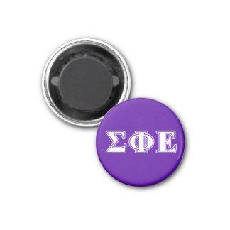 Sigma Phi Epsilon White and Purple Letters 1 Inch Round Magnet