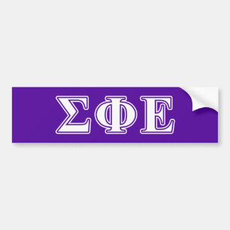 Sigma Phi Epsilon White and Purple Letters Bumper Sticker