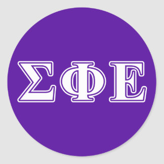 sigma phi epsilon white and purple letters classic round sticker
